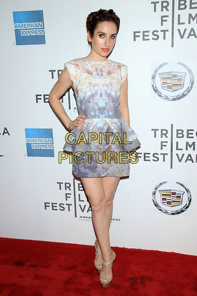 "Zoe Lister-Jones.The 2012 Tribeca Film Festival World Premiere of ""Lola Versus"" at the Tribeca Performing Arts Center, New York, NY, USA..April 24th, 2012.full length dress hand on hip peplum blue white beige print.CAP/LNC/TOM.©LNC/Capital Pictures."