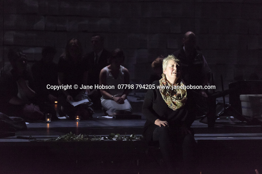 EMBARGOED UNTIL 7:30pm 11.04.15. London, UK. 09.04.2015. English National Opera presents the world premiere of Tansy Davies' BETWEEN WORLDS, at the Barbican. Picture shows: Susan Bickley (Mother). Photograph © Jane Hobson.