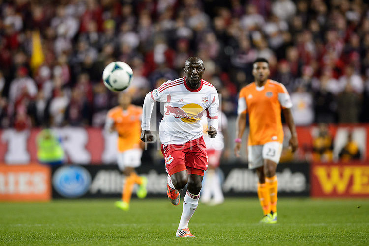 Ibrahim Sekagya (32) of the New York Red Bulls. The Houston Dynamo defeated the New York Red Bulls 2-1 (4-3 on aggregate) in overtime of the second leg of the Major League Soccer (MLS) Eastern Conference Semifinals at Red Bull Arena in Harrison, NJ, on November 6, 2013.