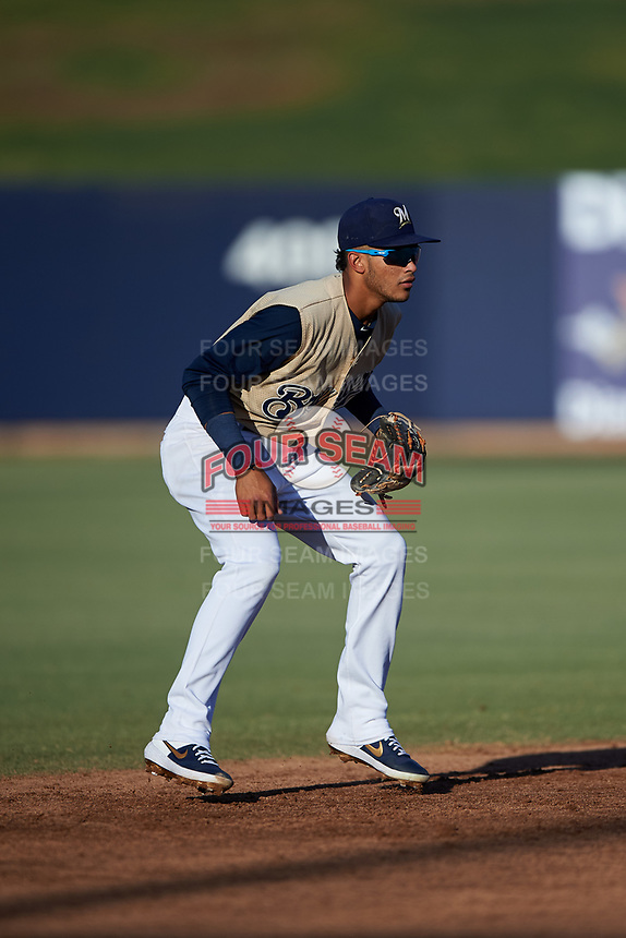 AZL Brewers Gold shortstop Daniel Castillo (13) during an Arizona League game against the AZL Brewers Blue on July 13, 2019 at American Family Fields of Phoenix in Phoenix, Arizona. The AZL Brewers Blue defeated the AZL Brewers Gold 6-0. (Zachary Lucy/Four Seam Images)