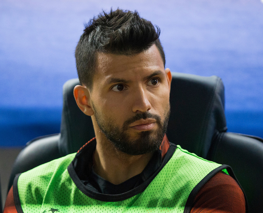 Manchester City's Sergio Aguero starts on the bench<br /> <br /> Photographer Craig Mercer/CameraSport<br /> <br /> UEFA Champions League Group C - Barcelona and Manchester City - Wednesday 19th October 2016 - Camp Nou - Barcelona - Spain<br />  <br /> World Copyright &copy; 2016 CameraSport. All rights reserved. 43 Linden Ave. Countesthorpe. Leicester. England. LE8 5PG - Tel: +44 (0) 116 277 4147 - admin@camerasport.com - www.camerasport.com