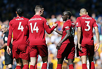 Liverpool's Sadio Mane (ctr) celebrates scoring the opening goal <br /> <br /> Photographer Rich Linley/CameraSport<br /> <br /> The Premier League - Liverpool v Wolverhampton Wanderers - Sunday 12th May 2019 - Anfield - Liverpool<br /> <br /> World Copyright © 2019 CameraSport. All rights reserved. 43 Linden Ave. Countesthorpe. Leicester. England. LE8 5PG - Tel: +44 (0) 116 277 4147 - admin@camerasport.com - www.camerasport.com