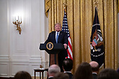 """United States President Donald J. Trump makes remarks on """"America's Environmental Leadership"""" in the East Room of the White House in Washington, DC on Monday, July 8, 2019.<br /> Credit: Ron Sachs / CNP"""