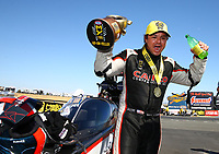 Jul 30, 2017; Sonoma, CA, USA; NHRA top fuel driver Steve Torrence celebrates after winning the Sonoma Nationals at Sonoma Raceway. Mandatory Credit: Mark J. Rebilas-USA TODAY Sports
