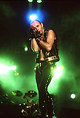 JUDAS PRIEST - Vocalist Rob Halford - performing live on the Mercenaries of Metal Tour at Le Zenith in Paris France - 16 May 1988.  Photo credit: Ray Palmer Archive/IconicPix