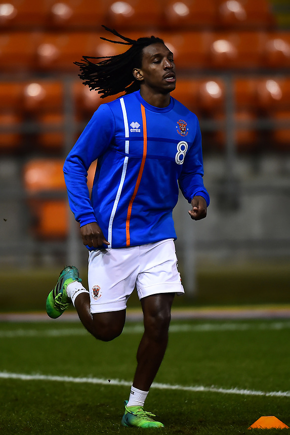 Blackpool's Sessi D'Almeida warms up<br /> <br /> Photographer Richard Martin-Roberts/CameraSport<br /> <br /> The EFL Sky Bet League One - Blackpool v Charlton Athletic - Tuesday 13th March 2018 - Bloomfield Road - Blackpool<br /> <br /> World Copyright &copy; 2018 CameraSport. All rights reserved. 43 Linden Ave. Countesthorpe. Leicester. England. LE8 5PG - Tel: +44 (0) 116 277 4147 - admin@camerasport.com - www.camerasport.com