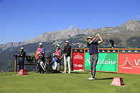 Pedro Oriol (ESP) tees off the 7th tee during Saturday's Round 3 of the 2018 Omega European Masters, held at the Golf Club Crans-Sur-Sierre, Crans Montana, Switzerland. 8th September 2018.<br /> Picture: Eoin Clarke | Golffile<br /> <br /> <br /> All photos usage must carry mandatory copyright credit (&copy; Golffile | Eoin Clarke)