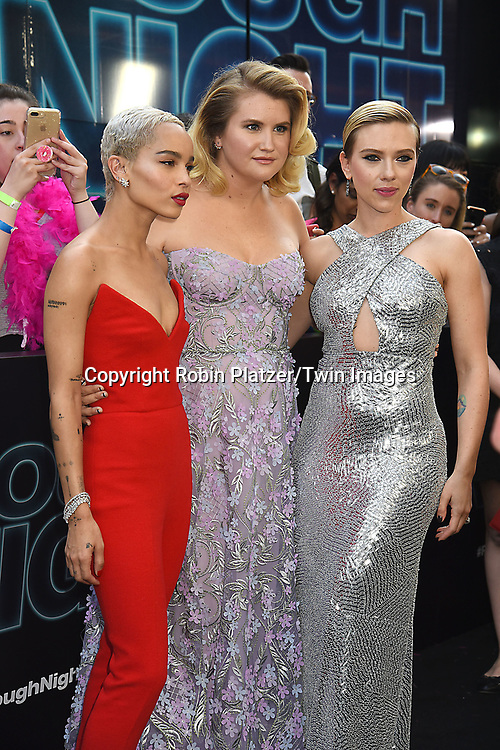 Zoe Kravitz, Jillian Bell and Scarlett Johansson attend the &quot;Rough Night&quot; World Premiere on June 12, 2017 at AMCLowes Lincoln Square 13 in New York, New York, USA.<br /> <br /> photo by Robin Platzer/Twin Images<br />  <br /> phone number 212-935-0770