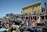 A float in the Fourth of July Parade on Main Street in Mendocino California