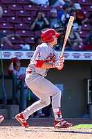 Peoria Chiefs second baseman Brendan Donovan (33) swings at a pitch during a Midwest League game against the Cedar Rapids Kernels on May 26, 2019 at Perfect Game Field in Cedar Rapids, Iowa. Cedar Rapids defeated Peoria 14-1. (Brad Krause/Four Seam Images)