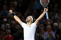 1st November 2019, AccorHotels Arena, Bercy, Paris, France; Rolex Paris Masters tennis tournament;  joie Grigor Dimitrov (BUL) celebrates his win