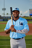Charlotte Stone Crabs Moises Gomez (21) poses for a photo before a Florida State League game against the Clearwater Threshers on May 17, 2019 at Spectrum Field in Clearwater, Florida.  Charlotte defeated Clearwater 12-4.  (Mike Janes/Four Seam Images)