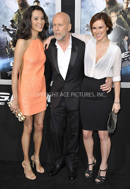 WWW.ACEPIXS.COM....March 28 2013, LA....Actor Bruce Willis (C), his wife Emma Heming Willis and Rumer Willis (R) arriving at the 'G.I. Joe: Retaliation' Los Angeles premiere at the TCL Chinese Theatre on March 28, 2013 in Hollywood, California.......By Line: Peter West/ACE Pictures......ACE Pictures, Inc...tel: 646 769 0430..Email: info@acepixs.com..www.acepixs.com