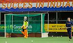 AMSTELVEEN - succes in India spandoek,   tijdens   de hockeyinterland Nederland-Ierland (7-1) , naar aanloop van het WK hockey in India.  COPYRIGHT KOEN SUYK