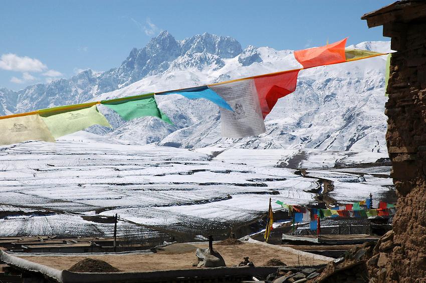 Views of the Chola Mountains from Ganzi - taken March 17, 2008 - Michael Benanav - 505-579-4046