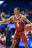 NWA Democrat-Gazette/BEN GOFF @NWABENGOFF<br /> Jalen Harris, Arkansas guard, directs the offense in the first half vs Florida Thursday, March 14, 2019, during the second round game in the SEC Tournament at Bridgestone Arena in Nashville.