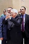Palestinian President Mahmoud Abbas leaves a hospital in the West Bank city of Ramallah on May 28, 2018 following eight days of treatment for pneumonia. Photo by Thaer Ganaim