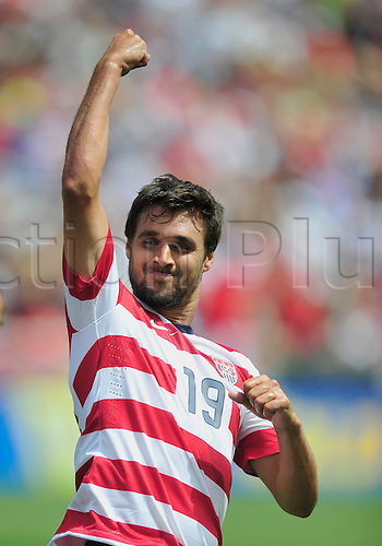 13.07.2013. Sandy, Utah, USA. Chris Wondolowski celebrates after scoring a goal.The U.S. Men's National Team defeated the Cuba 4-1 Concacaf Gold Cup at Rio Tinto Stadium in Sandy, Utah.