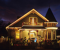 Victorian houses with Christmas decorations Paso Robles, California