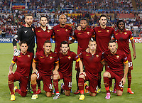 Calcio, Champions League, Gruppo E: Roma vs CSKA Mosca. Roma, stadio Olimpico, 17 settembre 2014.<br /> Roma players pose prior to the start of the Group E Champions League football match between AS Roma and CSKA Moskva at Rome's Olympic stadium, 17 September 2014. Front row, from left, Juan Iturbe , Francesco Totti, Miralem Pjanic, Radja Nainggolan and Vasileios Torosidis . Back row, from left, Morgan De Sanctis, Kostas Manolas, Maicon, Seydou Keita, Davide Astori and Gervinho.<br /> UPDATE IMAGES PRESS/Riccardo De Luca