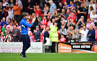 Lincoln City's assistant manager Nicky Cowley applauds the fans at the final whistle <br /> <br /> Photographer Chris Vaughan/CameraSport<br /> <br /> The EFL Sky Bet League Two - Lincoln City v Morecambe - Saturday August 12th 2017 - Sincil Bank - Lincoln<br /> <br /> World Copyright &copy; 2017 CameraSport. All rights reserved. 43 Linden Ave. Countesthorpe. Leicester. England. LE8 5PG - Tel: +44 (0) 116 277 4147 - admin@camerasport.com - www.camerasport.com