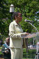 Washington, DC (May 15, 2011)  Congresswoman Donna Edwards (D-MD) speaks at the second annual Hope For Darfur - Justice in Sudan Rally and March to help the spotlight remain on the violence in Darfur and Sudan.  The march began at the Metropolitan AME church followed by a rally in front of the White House.  The Darfur Interfaith Network (DIN) and GI-NET/Save Darfur want to raise awareness of what they consider unjust policies of the Government of Sudan, and the unsafe living conditions of Darfuris and for those who continue to suffer in southern Sudan. Talk show host Joe Madison in background. (Photo Credit: Don Baxter/Media Images International)
