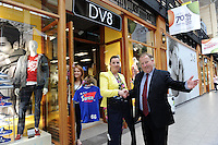 Caroline Hennessy, Manager and Aine O'Connor, assistant manager receive the keys of the door for their new store DV8 which opened in The Killarney Outlet Centre at the weekend from Paul Sherry, General Manager. DV8 specialises in mens and ladies clothes and shoes with top labels Superdry and Converse among their many brands.<br /> Picture by Don MacMonagle<br /> <br /> REPRO FREE PHOTO FROM KILLARNEY OUTLET CENTRE