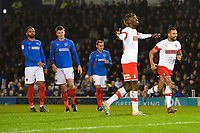 Freddie Ladapo of Rotherham United scores from the penalty spot and celebrates during Portsmouth vs Rotherham United, Sky Bet EFL League 1 Football at Fratton Park on 26th November 2019