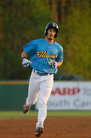 Myrtle Beach Pelicans outfielder Daniel Spingola (22) at bat during a game against the Lynchburg Hillcats at Ticketreturn Field at Pelicans Ballpark on April 14, 2017 in Myrtle Beach, South Carolina. Lynchburg defeated Myrtle Beach 5-2. (Robert Gurganus/Four Seam Images)