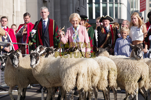 LONDON, ENGLAND - SEPTEMBER 24: Mary Berry officially opens the London Wool Fair by starting the Great Sheep Drive at London Bridge on September 24, 2017 in London, England. <br /> CAP/SDL<br /> &copy;SDL//Capital Pictures