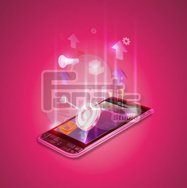 Illustrative image of mobile phone representing financial data