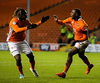 Blackpool's Viv Solomon-Otabor celebrates scoring his side's first goal with teammate Dolly Menga<br /> <br /> Photographer Alex Dodd/CameraSport<br /> <br /> The EFL Sky Bet League One - Blackpool v Portsmouth - Saturday 11th November 2017 - Bloomfield Road - Blackpool<br /> <br /> World Copyright &copy; 2017 CameraSport. All rights reserved. 43 Linden Ave. Countesthorpe. Leicester. England. LE8 5PG - Tel: +44 (0) 116 277 4147 - admin@camerasport.com - www.camerasport.com