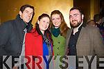 Micheál O'Shea (Killorglin) Rosemary Maxwell (Beaufort, Killarney) with Roisin O'Shea and Mike McCaffrey (Killorglin) pictured at the Killarney Plaza hotel to ring in the New Year on Tuesday night.