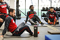 (L-R) Leon Britton, Wilfried Bony and Kyle Bartley exercise in the gym during the Swansea City Training and Press Conference at The Fairwood Training Ground, Swansea, Wales, UK. Thursday 01 February 2018
