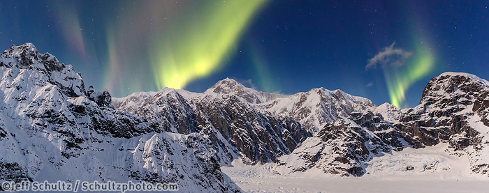 Aurora (northern lights) over Denali and the Alaska range in the Sheldon-Ruth Glacier and Amphitheater in the Alaska Range.  Winter 2017