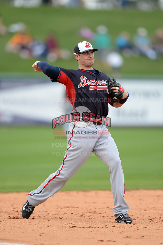Atlanta Braves third baseman Tyler Greene (7) during a spring training game against the Detroit Tigers on February 27, 2014 at Joker Marchant Stadium in Lakeland, Florida.  Detroit defeated Atlanta 5-2.  (Mike Janes/Four Seam Images)