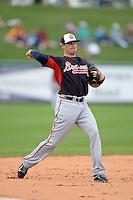 Atlanta Braves third baseman Tyler Greene (7) during a spring training game against the Detroit Tigers on February 27, 2014 at Joker Marchant Stadium in Lakeland, Florida.  Detroit defeated Atlanta 5-2.  (Mike Janes/Four Seam Images)