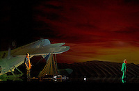 May 8 2003, Montreal, Quebec, Canada<br /> <br /> 10 year old Nicolas Bellefleur-Bondu (R) and Michel Rivard (L) in LE PETIT PRINCE musical comedy, based on Antoine de St-Exupery book, may 8 2003 at the St-Denis Theater, in Montreal, CANADA.<br /> <br /> Mandatory Credit: Photo by Pierre Roussel- Images Distribution. (©) Copyright 2003 by Pierre Roussel <br /> <br /> NOTE : <br />  Nikon D-1 jpeg opened with Qimage icc profile, saved in Adobe 1998 RGB<br /> .Uncompressed  Original  size  file availble on request.