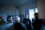 SPAIN, Madrid : Relatives of Vicente Torres, 73, are pictured at Vicente's apartment in Madrid on April 18, 2012. Vicente Torres, who is severy ill and underwent a recent heart surgery, faces an eviction from his house. Eviction procedures in Spanish courts for unpaid mortgages and rent hit a record of 58,241 in 2011, a 21.2 percent rise over the previous year. Evictions have soared in Spain since the collapse of a property bubble in 2008 that triggered the country's economic crisis. (c) Pedro ARMESTRE