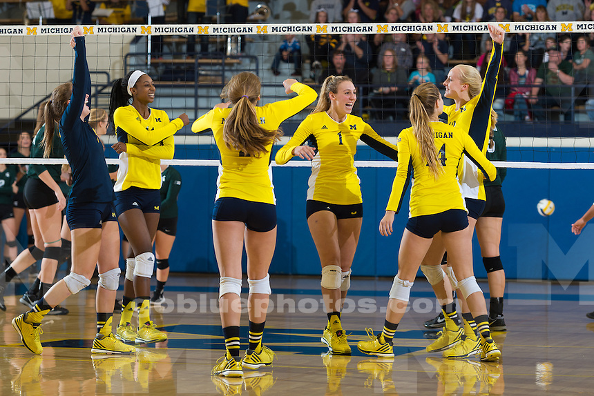 10/03/15 The University of Michigan volleyball team, 3-2,victory over Michigan State University at Cliff Keen Arena in Ann Arbor, Michigan.
