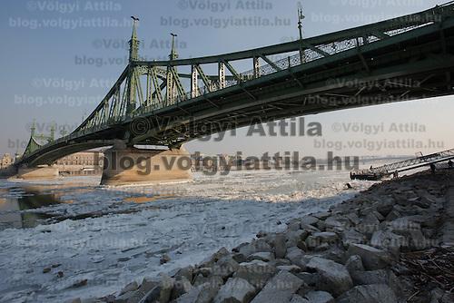 Ice blocks float on river Danube in Budapest, Hungary on January 10, 2017. ATTILA VOLGYI