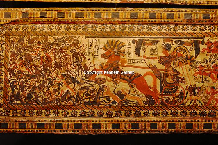 Egyptian Museum; Cairo; 18th dynasty; Pharaoh; Tut; Tutankhamen; Tutankhamun; painted box, Egypt, New Kingdom, artifact.