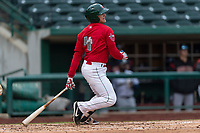 Fort Wayne TinCaps Nick Feight (2) at bat during a Midwest League game against the Fort Wayne TinCaps at Parkview Field on April 30, 2019 in Fort Wayne, Indiana. Kane County defeated Fort Wayne 7-4. (Zachary Lucy/Four Seam Images)