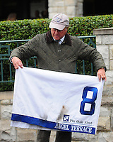 Trainer Jonathan Sheppard after Angel Terrace's win in the first division of the Pin Oak Valley View at Keeneland Racecourse.October 19, 2012.