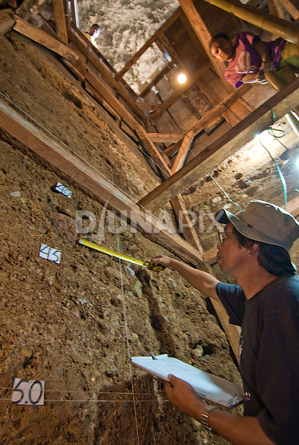 Geologist Wasisto (Indonesia Center for Archaeology) documents 100,000 years of stratigraphy exposed with a 6-meter dig at Liang Bua Cave--thus far the longest record anywhere in Sountheast Asia.
