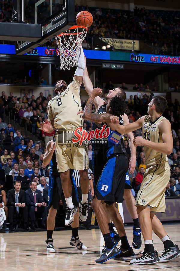 Devin Thomas (2) of the Wake Forest Demon Deacons fights for the ball with Marshall Plumlee (40) of the Duke Blue Devils during first half action at the LJVM Coliseum on January 6, 2016 in Winston-Salem, North Carolina.  The Blue Devils defeated the Demon Deacons 91-75.  (Brian Westerholt/Sports On Film)