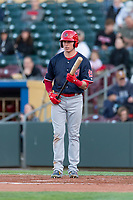 Memphis Redbirds center fielder Drew Robinson (33) during a Pacific Coast League game against the Omaha Storm Chasers on April 26, 2019 at Werner Park in Omaha, Nebraska. Memphis defeated Omaha 7-3. (Zachary Lucy/Four Seam Images)