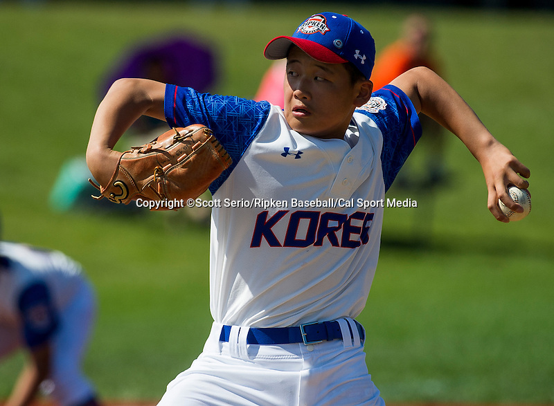 August 13, 2014: Scenes from Korea against Mexico during the Cal Ripken 12u 70-foot World Series at the Ripken Experience powered by Under Armour in Aberdeen, Maryland on August 13, 2014. Scott Serio/Ripken Baseball/CSM