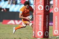 Pablo Matera of the Jaguares scores during the Super Rugby match between the Vodacom Bulls and the Jaguares at Loftus Versfeld in Pretoria, South Africa on Saturday, 7 July 2018. Photo: Steve Haag / stevehaagsports.com