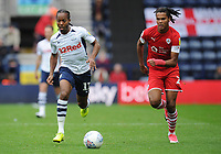 Preston North End's Daniel Johnson under pressure from Barnsley's Toby Sibbick<br /> <br /> Photographer Kevin Barnes/CameraSport<br /> <br /> The EFL Sky Bet Championship - Preston North End v Barnsley - Saturday 5th October 2019 - Deepdale Stadium - Preston<br /> <br /> World Copyright © 2019 CameraSport. All rights reserved. 43 Linden Ave. Countesthorpe. Leicester. England. LE8 5PG - Tel: +44 (0) 116 277 4147 - admin@camerasport.com - www.camerasport.com